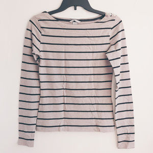 Striped Long Sleeve T-shirt Button Oatmeal Small S